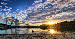 Lindy, Norway (Vest der ute) Tags: trees sea sky seascape norway clouds sunrise reflections landscape earlymorning rogaland sunstar fav25 fav200 g7x ryksund