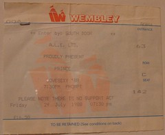 I was 15, on my own in London and this show blew my mind. RIP Prince. (rchappo2002) Tags: london concert rip 1988 ticket prince arena stub wembley lovesexy