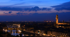 Florence at Evening (jfusion61) Tags: blue sky italy reflection clouds river lights evening florence spring nikon dusk ponte filter hour arno michelangelo palazzo piazzale leff graduated vecchio 70200mm d810