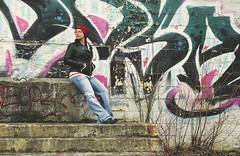 North Side (flashfix) Tags: portrait urban woman usa selfportrait cinema ny newyork girl stone graffiti nikon theatre stones decay unitedstatesofamerica steps toque jeans abandon syracuse colourful 40mm leatherjacket 2016 mattydale d7000 nikond7000 cinemanorth 2016inphotos march252016