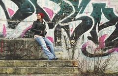 North Side (flashfix) Tags: march252016 2016 2016inphotos nikon d7000 nikond7000 syracuse newyork ny usa unitedstatesofamerica 40mm selfportrait graffiti stone cinemanorth decay urban portrait girl woman jeans leatherjacket toque stones steps abandon theatre cinema colourful mattydale flashfix flashfixphotography