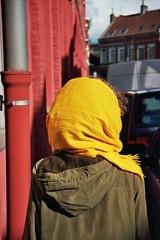 (michel nguie) Tags: street light portrait urban film lines yellow vertical wall analog back bokeh cashmere redbricks roubaix isha lechameau ericbompard michelnguie