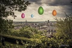 Joyeuses Pques (Happy Easter) (Gilderic Photography) Tags: city sky photomanipulation canon easter funny cityscape belgium belgique belgie surreal humour ciel eggs liege paques 500d coteaux gilderic