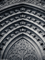 Arched Doorway (peterphotographic) Tags: barcelona door city urban blackandwhite bw building church window monochrome architecture spain europe cityscape arch cathedral olympus catalonia espana microfourthirds camerabag2 peterhall em5mk2 p3140669cb2portraitiiedwm