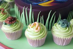Reptile Cake & Cupcakes (www.cupcakemegs.com) Tags: birthday green boys grass cake kids fun cupcakes turtle reptile snake chocolate frog lizard