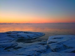 Sunset (SSBBSBSSBSBS) Tags: winter sunset sun snow cold ice beach nature water finland landscape europe sundown natural outdoor snowy freezing wave sunny scene freeze icy scandinavia scape watercourse yyteri gulfofbothnia europeanskyscapes