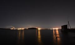 Nighty Night (Kojaniemi) Tags: light sea reflection water night port fence finland stars island harbor dock wire harbour smoke smokestack shipyard isle meyer dockyard oilrefinery kimmoojaniemi kojaniemi