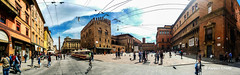 Bologna in panoramic beauty (alessiochiolo) Tags: life street city trip morning blue light sunset sky people urban italy panorama sun hot art history beauty weather stone architecture backlight clouds buildings square spring nice artwork italian italia day cityscape torre view arte metro good walk quality centro wide arc large sunny center icon panoramic best mob emilia explore cielo bologna infrastructure historical spotted bella piazza maggiore provincia pietra viva borgo architettura luce beatiful nord citt cityview romagna storico nettuno storia asinelli