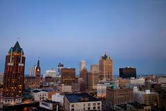 -Dusk.  Spring.  MKE 2016.- (JakeKieffer) Tags: skyline wisconsin architecture midwest downtown dusk lakemichigan milwaukee hyatt bluehour polaris mke downtownmilwaukee creamcity brewcity milwaukeeskyline hyattregencymilwaukee dearmke