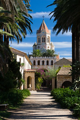 The Monastery (Lars verb) Tags: road summer sky cloud france building church st architecture de cannes outdoor canon20d palm monastry ouside iles honorat