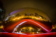 The Bean in Its lit up glory (Flipped Out) Tags: chicago millenniumpark cloudgate anishkapoor nfldrafttown