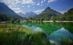 Idilic scenery at lake Jasna (marko.erman) Tags: lake mountains alps reflection green nature reflections landscape scenery eau sony lac calm slovenia serenity serene slovenija charming paysage pure extrieur deau razor cours colline jasna pristine idilic ruisseau kranjskagora jezero prisank