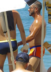 IMG_0743 (danimaniacs) Tags: shirtless man hot guy beach beard hunk trunks swimsuit stud scruff bulge sext