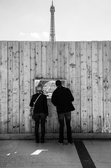 (Tom Plevnik) Tags: street city travel people urban blackandwhite public monochrome photography nikon flickr outdoor candid eiffeltower places human bnw