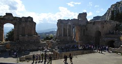 Greco/Roman Theatre,  Taormina, Sicily. (jenichesney57) Tags: trees people mountains greek ruins view theatre roman panasonic sicily walls pillars taormina tz
