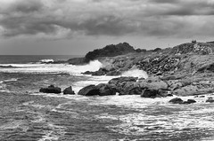 San Mateo Coast - BW (rschnaible) Tags: ocean california sea bw usa white storm black west water landscape outdoors photography coast us san tour pacific sightseeing rocky monotone tourist western mateo rugged