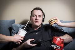 Game On (JeremyMillerPhotography) Tags: portrait xbox mcdonalds couch videogames lazy sloth junkfood bigmac doritos gluttony slob sevendeadlysins
