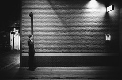 London street cams are watching you.. (Cem Bayir) Tags: street leica city uk england people urban blackandwhite bw london monochrome night 35mm underground lights call nightout f14 candid soho streetphotography cellphone shade fullframe summilux asph leicacamera leicam streetbynight asperical leicalove 35mmf14summiluxasph leicaphoto leicam240