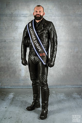 Mr. Leather Europe 2015 (Thorsten) (WF portraits) Tags: gay portrait hairy man black male leather studio beard sash aut 2015 gayleather officialphoto fullleather mrleather mrleathereurope