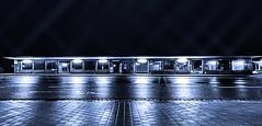 Ice Station (M-Z-Photo) Tags: monochrome de bayern deutschland licht und nacht blau schatten rothenburgobdertauber langzeitbelichtung reflektionen busbahnhof bushaltstelle