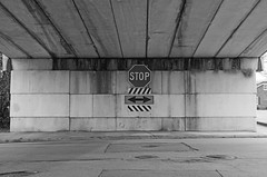 End of the Road (Todd Evans) Tags: bridge bw sign ga georgia sony stopsign cartersville a5000