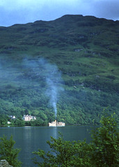 'Maid of the Loch' at Inversnaid -from opposite shore. Jun'81. (David Christie 14) Tags: lochlomond maidoftheloch inversnaid