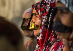 bandari women wearing the traditional masks called the burqas, Qeshm Island, Salakh, Iran (Eric Lafforgue) Tags: people woman face horizontal outdoors persian clothing women asia veil dress mask iran muslim islam traditional religion hijab culture persia womenonly clothes hidden identity masks human covered iranian sideview adults islamic burqa customs middleeastern persiangulf sunni 3people qeshmisland burka chador threepeople hormozgan burqua 40sadult    iro straitofhormuz  colourpicture  salakh borqe boregheh iran034i9821