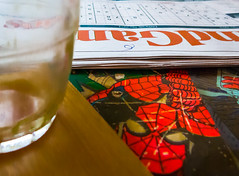 36/366 Mind Games - 366 Project 2 - 2016 (dorsetpeach) Tags: red england glass newspaper empty spiderman puzzle dorset espresso 365 dorchester mindgames finca 2016 thetimes 366 sudoko aphotoadayforayear 366project second365project