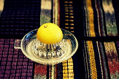 the day starts with a lemon (overthemoon) Tags: glass fruit lemon juice fabric crossprocessing utata cloth poncho 72 embroidered citron ip zitrone lemonsqueezer ironphotographer utata:project=ip72 halfalemon