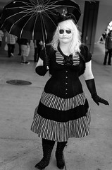 Lady Skellington (rikiomgawa) Tags: people blackandwhite bw monochrome costume nikon cosplay event jackskellington nightmarebeforechristmas lightroom crossplay longbeachconventioncenter d7000 silverefexpro longbeachcomicexpo