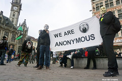Anonymous OpAwakening Gent (Red Cathedral is alive) Tags: march mask cosplay sony protest guyfawkes vforvendetta alpha banners anonymous gent resistance resist larp manifestation gunpowderplot occupy eventcoverage sonyalpha mirrorless a6000 millionmaskmarch leftwingdemonstration opawakening
