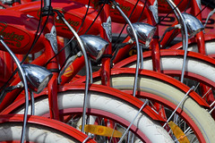 Red bikes (Jan van der Wolf) Tags: red lamp lights wheels tires repetition rood fiets wiel banden herhaling map10354v
