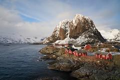 Hamnøy ~ Moskenesøya [ Îles Lofoten ~ Norvège ] (emvri85) Tags: winter house snow mountains norway zeiss hiver neige maison lofoten montagnes 21mm norvège nordland hamnøy leefilters moskenesøya