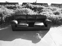 Hobo Junction 2 (Bart D. Frescura) Tags: blackandwhite tracks couch sofa bayarea lightandshadow lightanddark hobojunction bartdfrescura