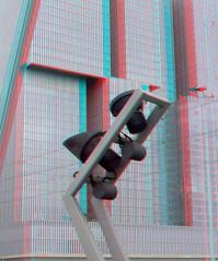 Erasmusbrug Rotterdam 3D (wim hoppenbrouwers) Tags: light building lamp 3d rotterdam anaglyph stereo beamer kopvanzuid erasmusbrug wilhelminapier redcyan
