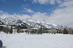 Starting the hike/snowshoe (Aggiewelshes) Tags: travel winter snow mountains landscape scenery april snowshoeing wyoming jacksonhole grandtetonnationalpark 2016 gtnp taggartlaketrail