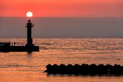- Sunrise (kurosatow) Tags: sea lighthouse japan sunrise dawn nikon hokkaido  otaru   d810
