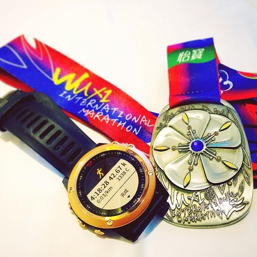 「如果你想跑步,跑個一英里就好。如果你想體驗不同的人生,那就跑場馬拉松吧。」~奧運金牌得主 #EmilZatopek ... 終於拿下我1st全程馬拉松(@WuXi)🙏  #Marathon #FullMarathon #無錫國際馬拉松 #Garmin #Fenix3