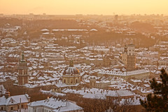 Golden Sunset Over Lviv in Winter (tarmo888) Tags: snow wonderful aerialview lviv ukraine medieval unesco special lumi lvov   lww lemberg  lwow leopolis ukrayina photoimage  sooc sonyalpha  pictureeffect sony geosetter beenwaiting  geotaggedphoto nex7 sel18200 foto hdrpainting year2016