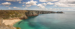 The view from Minack (Andy Hough Photography) Tags: sea england panorama holiday tourism beach water landscape bay cornwall unitedkingdom pano sony gb porthcurno stiching logansrock a99 sonyalpha andyhough saintlevan slta99v andyhoughphotography sonyzeiss2470f28zassm