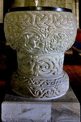 Stottesdon, Shropshire, church of St. Mary the virgin, font (groenling) Tags: uk greatbritain england flower face stone shropshire britain lion stonecarving carving gb font baptismalfont grotesque churchofstmarythevirgin salop stottesdon