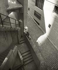 Shanghai 1933_girl with hat (Charles R. Yang) Tags: china shadow bw woman girl hat concrete minolta steps shade 24mm escher afternoonsun artspace 1933 shanghai1933 mdrokkorx sonya7