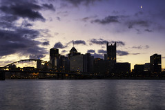 Waking Up (hokie311) Tags: city longexposure bridge sky urban sun color clouds sunrise river downtown pittsburgh cityscape cityscapes bridges alleghenyriver