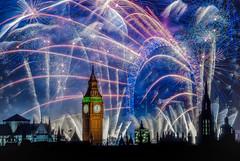 The world of faerie (4) (aurlien.leroch) Tags: uk longexposure blue england london nikon europe cityscape fireworks londoneye bigben bleu londres gb newyeareve d3000
