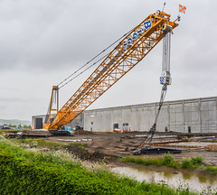 stalled in the pouring rain (pbo31) Tags: california panorama color green rain yellow project spring construction nikon lift crane large lot panoramic bayarea april isabel eastbay build livermore raining stitched alamedacounty biggie 2016 boury pbo31 d810