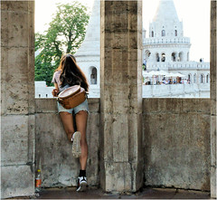 Locked in the Tower (Hindrik S) Tags: street people tower girl lady back hungary legs candid sony budapest streetphotography tamron magyar locked ungarn vrouw straat a57 boedapest 2015 hongarije fishermansbastion frou halaszbastya straatfotografie tamron1750 sonyalpha tamronspaf1750mmf28xrdiiildasphericalif sonyphotographing strjitte slta57 57 ongersln vissersmansbastion