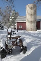 Traction in snow (Rocky Pix) Tags: winter foothills snow tractor barn four farm silo rake hay mile monopod implements rockypix 2470mmf28g wmichelkiteley rockymountainpix nikond700dslrnikkornormalzoom valmontbouldercountycolorado tractioninsnow f161200sec24mm