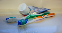 Day 113, 2016, a photo a day. (lizzieisdizzy) Tags: reflection reflections tile paste brush clean tiles toothpaste brushes bristles coloured windowsill handles toothbrushes hygeine cleanteeth
