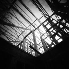 Construction (rustman) Tags: blackandwhite bw square iso3200 grain 11 pinhole worldwidepinholephotographyday 22mm gf1 f128 dynamicblackandwhite panasoniclumixgf1 pinwide wanderlustpinwide