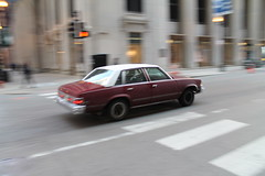 Malibu On A Mission (Flint Foto Factory) Tags: city morning urban white chicago motion classic chevrolet metal sedan moving illinois am spring gm downtown loop top burgundy district painted platform jackson malibu chevy april lasalle intersection rushhour friday financial 1979 icm abody generalmotors in intermediate 2016 midsize rwd 4door downsized